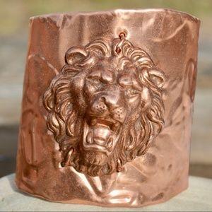 Wide Asymmetrical Copper Lion Cuff Armor Bracelet